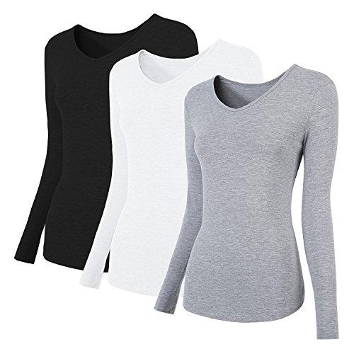 MONYRAY 3 Pack Women's Plain Basic Cotton Spandex V Neck Long Sleeve T Shirt(Black/White/Gray, L)