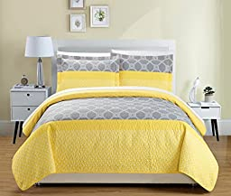 Chic Home 3 Piece Lori Geometric Modern Design Printed Quilt Set, Queen, Yellow