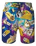 RAISEVERN Men's Swim Trunks Quick Dry Beachwear Galaxy Taco Cat Print Summer Surfing Drawstring Board Shorts Bathing Suit for Men Boy with Mesh Lining