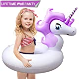 Pool Floats, Unicorn Pool Float with Rapid Valves Inflatable Pool Floaties Durable Water Raft Swim Tube Summer Beach Outdoor Swimming Pool Party Lounge Decorations Toys for Kids Girl Boy Adults