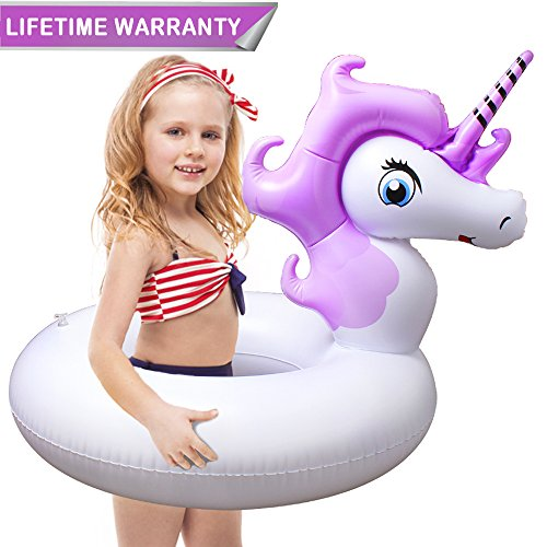 Pool Floats, Unicorn Pool Float with Rapid Valves Inflatable Pool Floaties Durable Water Raft Swim Tube Summer Beach Outdoor Swimming Pool Party Lounge Decorations Toys for Kids Girl Boy Adults - Girl Pool