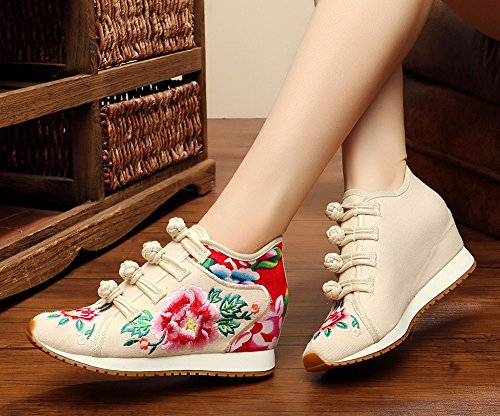 Casual Womens AvaCostume Beige Wedge Peony Walking Travel Shoes Embroidery 8IqdqF
