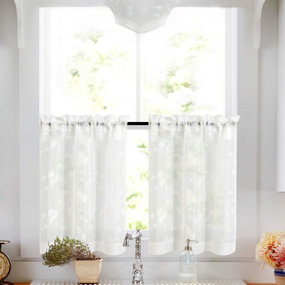 Tier Curtains White 36 Inch Length Kitchen Cafe Floral Embroidered Sheer Window Curtain Set Semi Sheer Curtains Voile Floral Drapes Rod Pocket 2 Panels
