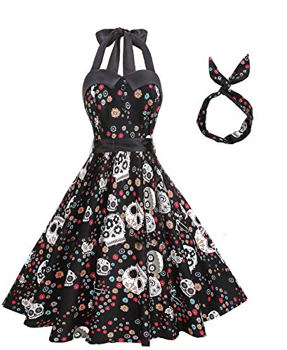 BI.TENCON Women 1950s Vintage Rockabilly Halter Skull Print Casual Cocktail Swing Dress Black S -