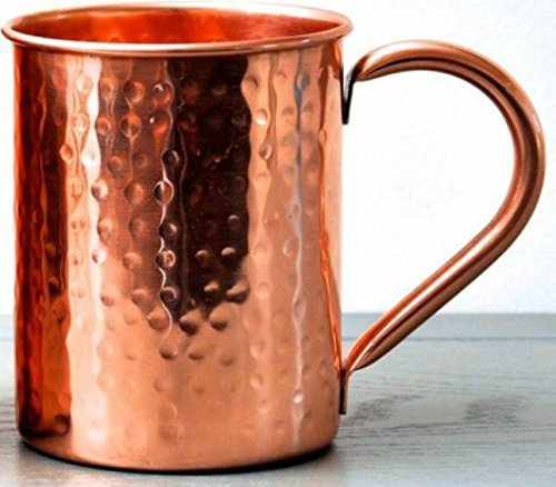 23oz. Jumbo Moscow Mule Hammered Copper Mugs - Set of 2-100% Solid Copper - Keskov Authentic - Large -No Rivets - No Inner Lining - Dimpled Tall Handcrafted Mug k-101