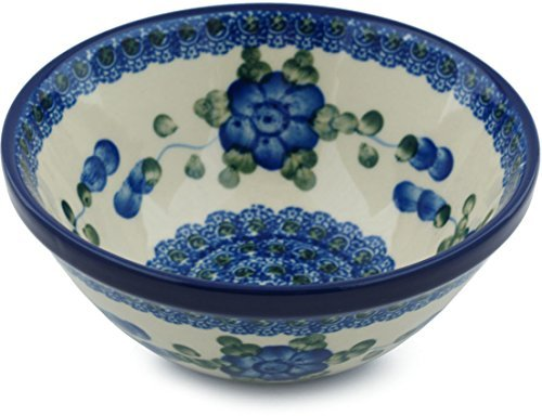 Polish Pottery Cereal / Soup Bowl 5-inch (Blue Poppies) Polish Cereal