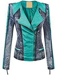 WJC1018 Womens Faux Leather Collarless Denim Jacket XS...