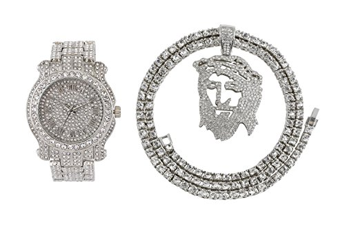 Iced Out Metal Band Bling Watch & Iced Out Jesus Pendant with Matching 24 inch One Row Tennis Necklace Gift Set (Silver) (Silver Set Pendant Watch)