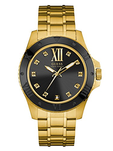 GUESS-Mens-U0721G2-Strong-Gold-Tone-Watch-with-Black-Dial-and-Diamond-Markers