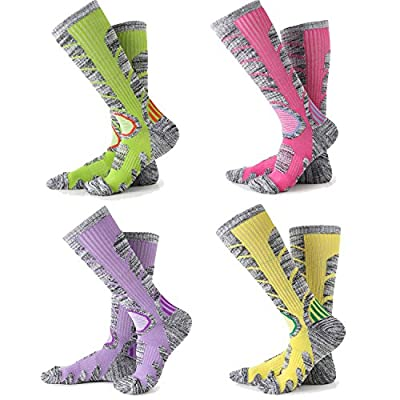 Ski Socks Women - 1/4 Pack Warm Skiing Calf Socks High Performance Winter Sport Socks