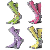 Womens Snow Ski Socks 4 Pack (Rose Red + Yellow + Purple + Lime Green)
