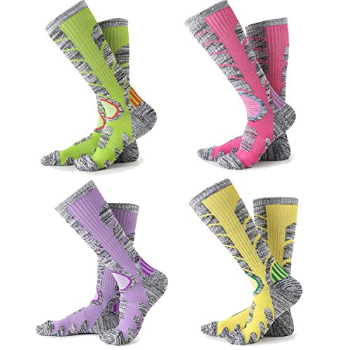 Womens Snow Ski Socks 4 Pack ( Rose Red + Yellow + Purple + Lime Green )