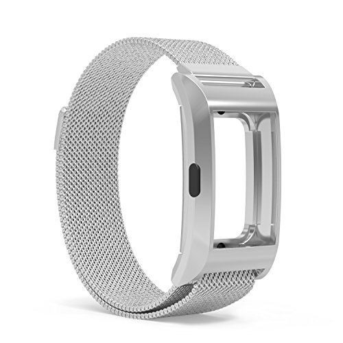 MoKo Fitbit Charge 2 Band, Milanese Loop Mesh Stainless Steel Bracelet Strap + Frame Housing for 2016 Fitbit Charge 2 Heart Rate + Fitness Wristband, Wrist Length 5.31''-8.26'', Silver by MoKo
