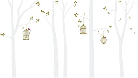 Bird Cages In Birch Trees Wall Decal White Gold Home Kitchen