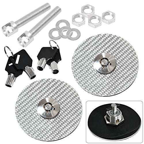 Carbon Hood Fiber Pin (Universal Silver Carbon Fiber Round JDM Hood Mount Bonnet Latch Pins Key Lock Locking)