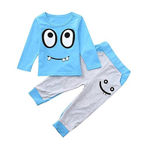 Toddler Cartoon Eyes Tops + Long Pants for 0-5 Years Old Girls Boy Pajamas (3-4 Years Old, Blue) ()