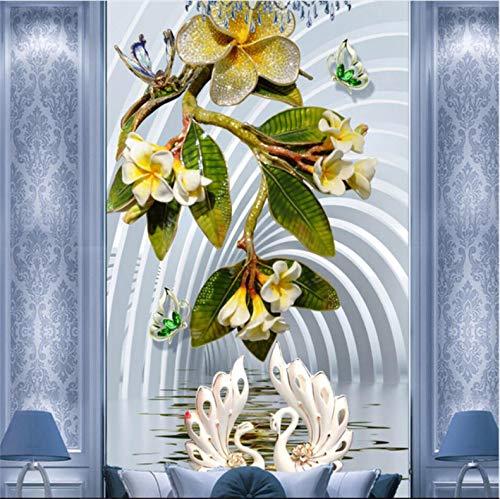 Lake Waterproof Chart - Mznm 3D Jewelery Flower Swan Lake Mural Aisle Void Chart Customized Large Mural Wallpaer Mural for Room-120X100Cm