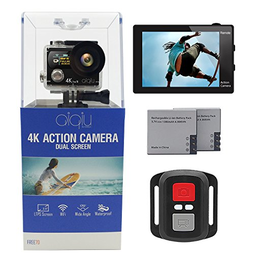 AIQiu 4K WIFI Action Camera Dual Screen Waterproof Sports Video Cameras Ultra HD 12MP 170 Degree Wide Angle/ 2 Rechargeable 1350mAh Batteries/ Wireless Remote control/ 22 Mounting Kits Action Cameras AIQiu