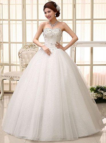 Eyekepper vestido de novia encanto Sin tirantes Alinear talla personalizada blanco