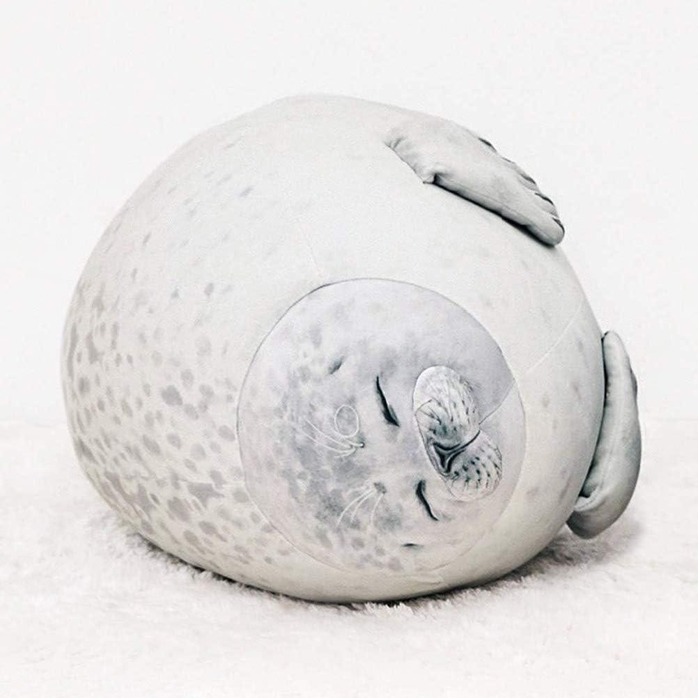 Grand Gris MOTOULAX Oreiller Mignon Chobby Blob Seal Cadeau pour Enfants Jouet en Peluche Seal Oreiller Animaux de La Mer en Peluche en Peluche de Coton Coussin Animal Oc/éan Mignon