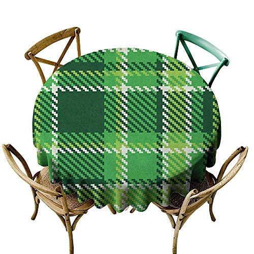 Wendell Joshua red Tablecloth 60 inch Checkered,Old Fashioned Irish British Tile Mosaic in Vibrant Green Colors, Emerald Lime Green White Suitable for Indoor Outdoor Round Tables