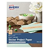 Avery Full-Sheet Sticker Project Paper, Kraft Brown, Removable Adhesive, 8-1/2'' x 11'', Pack of 15 (4392)