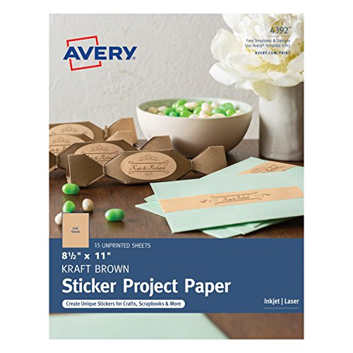 Avery Full-Sheet Sticker Project Paper, Kraft Brown, Removable Adhesive, 8-1/2 x 11, Pack of 15 (4392) (Brown Craft Paper Labels)
