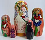 5pcs Handpainted Russian Nesting Doll of Japanese Animation Characters