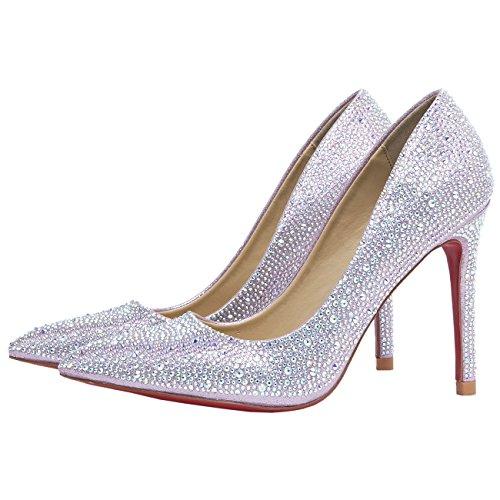 HooH Mujer Zapatos de tacón Bling Diamantes Dedo del pie puntiagudo Suela roja Tacón alto Y Bailarinas Boda Zapatos Rosa