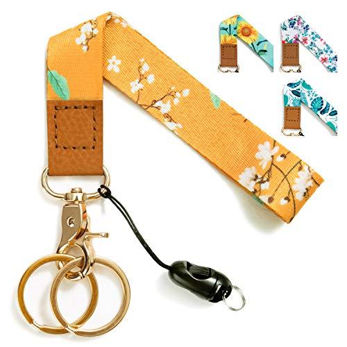 Wrist Lanyards Key Chain Holder Premium Quality Wristlet Lanyard Keychain for Women (Yellow Flower)