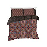 Eastern King Headboard Sale Flannel Duvet Cover Set 4 pieces Bedlinen Winter Holiday for bed width 6ft Pattern by,Vintage,Retro Bohemic Arabic Ethnic Eastern Image with Vivid Colorful Geometric Details Art Decorative,Multicolor