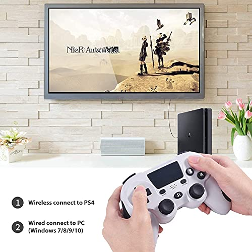 Manette de Jeu sans Fil pour PS4, Manette de Jeu pour Sony Playstation 4 Pro/Slim/PC avec pavé Tactile Haut-Parleur et Prise Casque…
