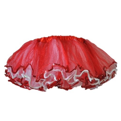 Dance Cheerleader Costumes (Tutu Red with White 4 Layers with Glitter Sequin Trimming-PT1680-2RW (Small))