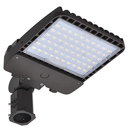 LEDwholesalers 200W LED Parking Lot Low Profile Dimmable Shoebox Area Security Light with Slipfitter Mount Base, UL-Listed, Daylight 5000K, 3934WH_SF