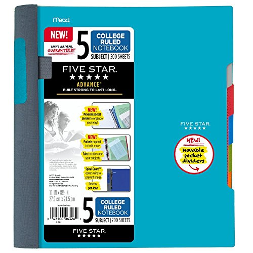 Five Star Advance Spiral Notebook-Standard Size, 5 Subject, College Ruled, 8.5 x 11 Inch Sheet Size, Teal (73152)