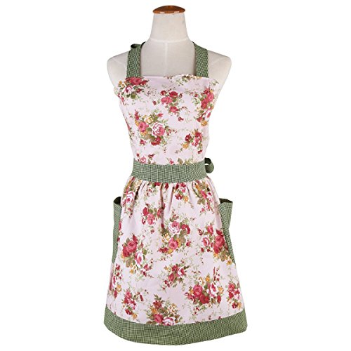 Cotton Canvas Apron for Women with Pockets Kitchen Cooking Aprons Vintage Retro Adjustable Bib Apron Plus Size Apron for Baking Gardening Apron Dress