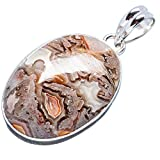 """Ana Silver Co Crazy Lace Agate 925 Sterling Silver Pendant 1 3/4"""" PD616014"""