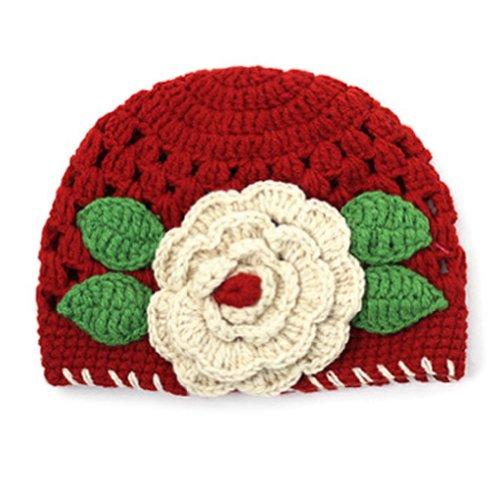 PanDaDa Knitted Crochet Flowers Beanie