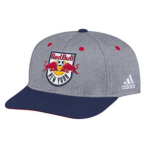 adidas MLS New York Red Bulls Adult Men 2-Tone Structured Adjustable, One Size, Gray