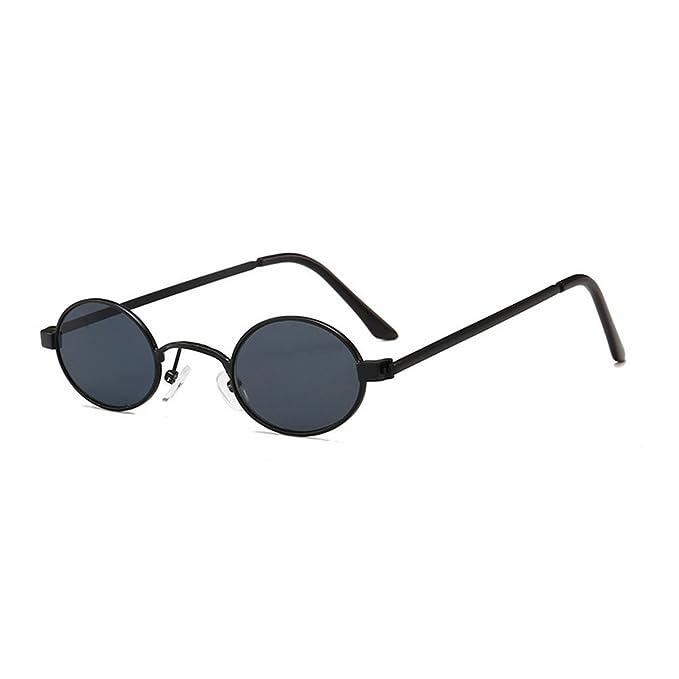f23a0d6ee9f86 MINCL Fashion Vintage Small Oval Sunglasses Unisex Chic Sexy Luxury Punk  Eyewear (black grey