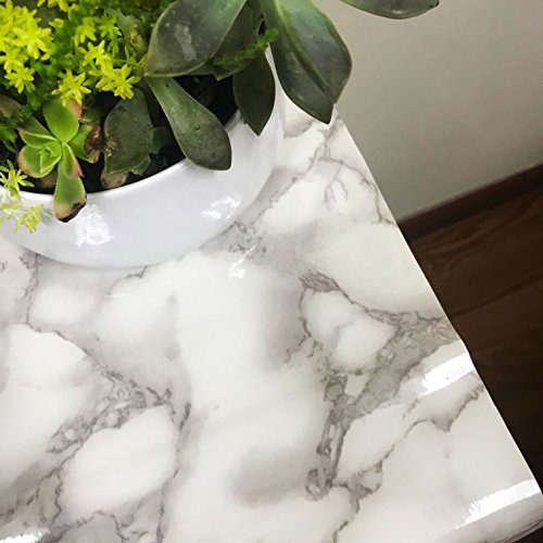 All Purpose Self Adhesive Marble Vinyl Roll - Modern Design Granite Wallpaper Film for Home Decor Living Room Kitchen Furniture and Shelves Liner - Peel and Stick Contact Paper (2 Rolls) by Lutema (Image #4)