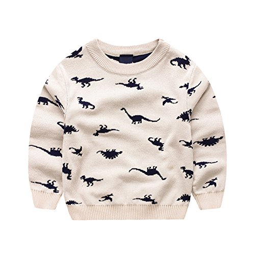 Anbaby Baby Boys Childrens Double-Deck Cartoon Dinosaur Pullover Sweaters