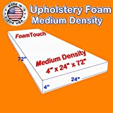 "FoamTouch Upholstery Foam Cushion Medium Density 4"" Height x 24"" Width x"