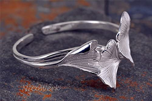 Silber Armreif Ginkgo Blatt Ginko Natur Breit Matt Glatt Armspange Armband 925