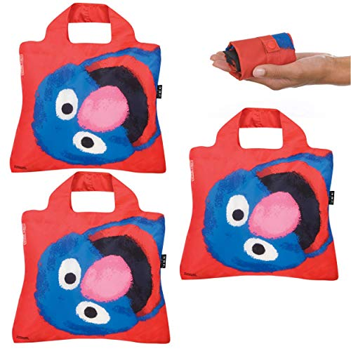 Reusable Grocery Bags- Set of 3 Sesame St Grover, Envirosax Foldable Quality Shopping Tote Bag, Eco-Friendly Polyester, Waterproof and Machine Washable. For Shopping, Travel, Arts, Crafts, Multi Use
