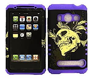 SHOCKPROOF HYBRID CELL PHONE COVER PROTECTOR FACEPLATE HARD CASE AND LIGHT PURPLE SKIN WITH MINI STYLUS PEN. KOOL KASE ROCKER FOR HTC EVO 4G A9292 SKULL LP-3D300