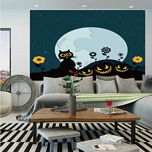 Halloween Decorations Wall Mural,Cute Cat Moon on Floral Field with Starry Night Sky Star Cartoon Art,Self-Adhesive Large Wallpaper for Home Decor 83x120 inches,Blue Black