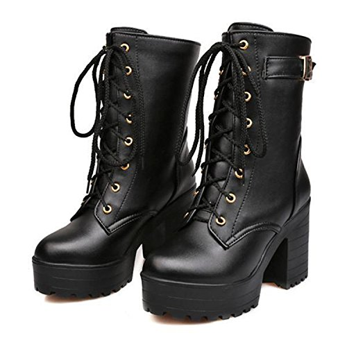 Angshanquh Women 10cm Thick High-Heeled Buckle Lace-up Short Boots Large Black - Meaning Gabbana Of