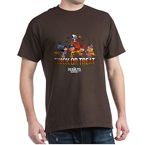 CafePress The Peanuts Movie Trick Or Treat Dark T Shirt 100% Cotton T-Shirt Brown -
