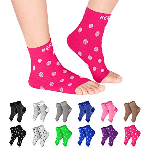 NEWZILL Plantar Fasciitis Socks with Arch Support, Best 24/7 Foot Care Compression Sleeve, Eases Swelling & Heel Spurs, Ankle Brace Support, Increases Circulation (L/XL, Pink w White Dots)